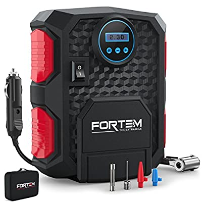 FORTEM Digital Tire Inflator for Car W/Pressure Gauge - Portable Air Compressor - Electric Auto Pump   Easy to Store - Auto Shut Off 12V DC - 3 Attachments - Bonus Carrying Case from FORTEM
