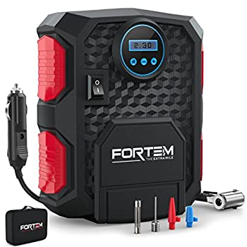 FORTEM Tire Inflator Portable Air Compressor Bike Tire Pump 12V Electric Air Pump for Car Tires and Bicycles w/LED Light Digital Tire Pressure Gauge w/Auto Pump/Shut Off Carrying Case  Red
