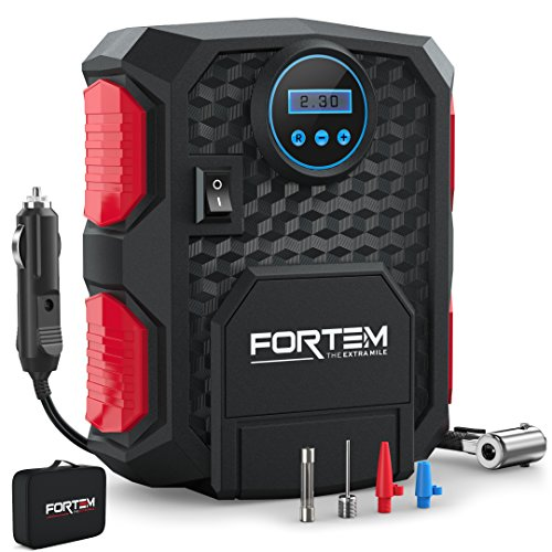 FORTEM Digital Tire Inflator for Car w/Auto Pump/Shut Off Feature, Portable Air Compressor, Carrying Case (Red)