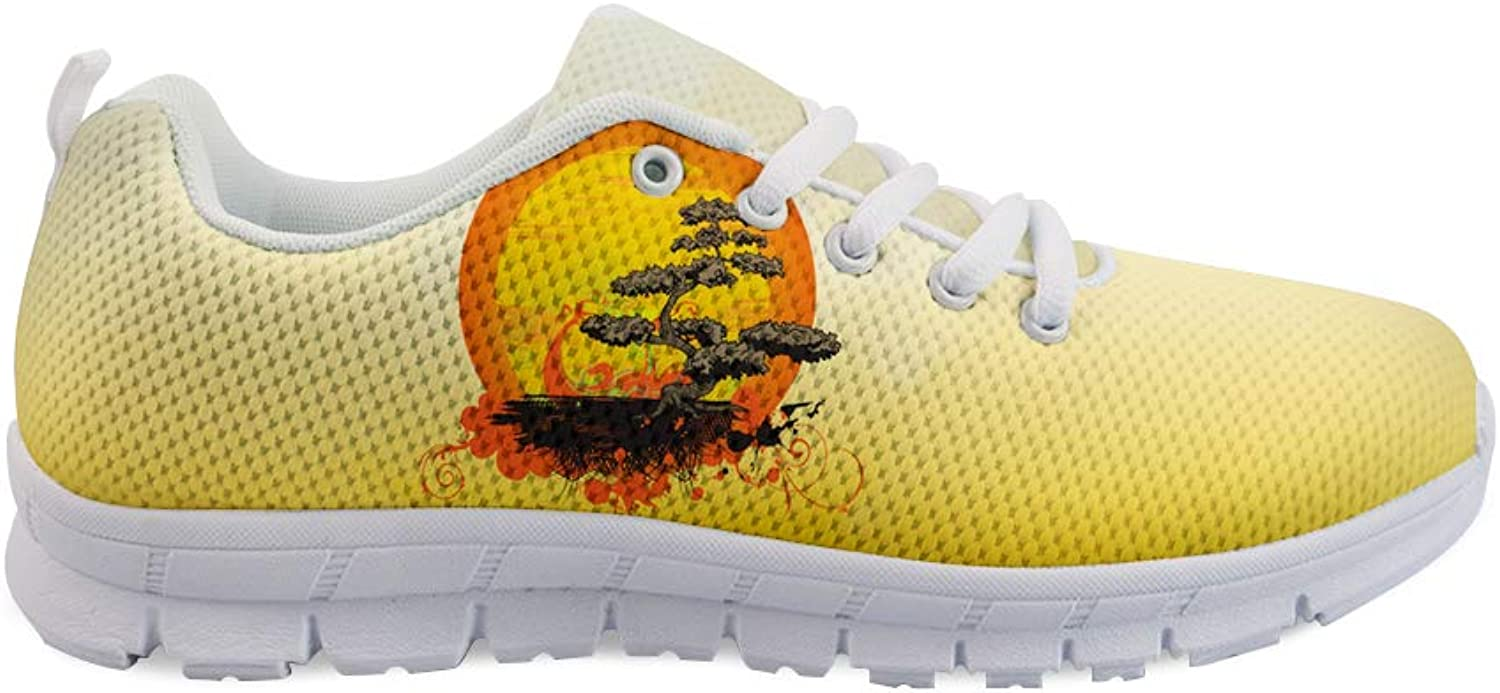 Owaheson Lace-up Sneaker Training shoes Mens Womens Bonsai Tree Red Sun Japanese