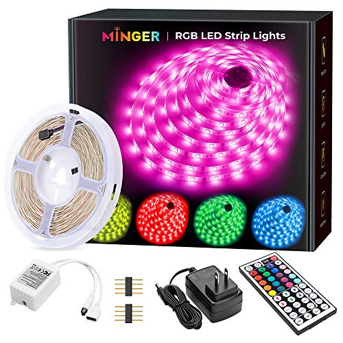 MINGER LED Strip Lights, 16.4ft RGB LED Light Strip 5050 LED Tape Lights, Color Changing LED Strip Lights with Remote for Home Lighting...