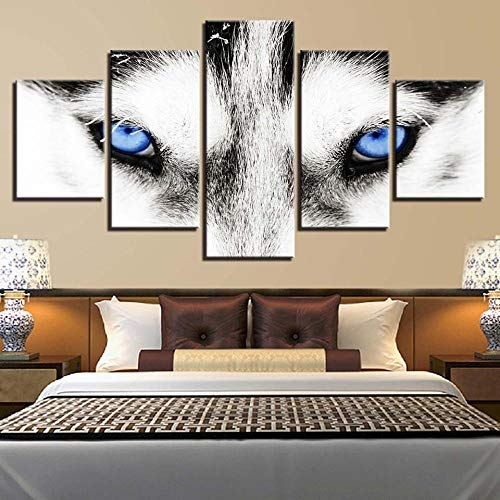 Leinwand Malerei Wandkunst 5 Stück HD Wandbilder Husky Eye Wandkunst modulares Bild Moderne Leinwand Bild Poster-NO Rahmen 40x60 40x80 40x100cm