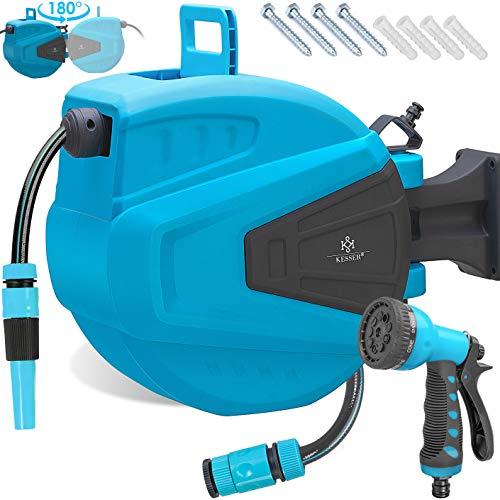 KESSER® Schlauchtrommel 30+2m Schlauchaufroller Wasser | Multi-Handbrause | 180° Schwenkbar | Aufwickelstopper | Wandhalterung | Wand-Schlauchbox | Wasserschlauchtrommel | Gartenschlauch | Blau