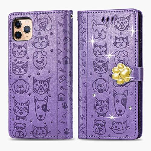 Oihxse Funda para iPhone 6+Plus/6S+Plus Carcasa Protectora Libro con Tapa Flip Case Ranuras Cartera con Tarjetas Soporte Plegable Gatos y Perros Patrón Moda Mujers Cuero Billetera Cover,Púrpura