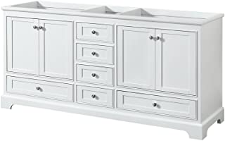 Wyndham Collection WCS202072DWHCXSXXMXX Deborah Double Vanity Cabinet, No Countertop, No Sinks, and No Mirrors, 72