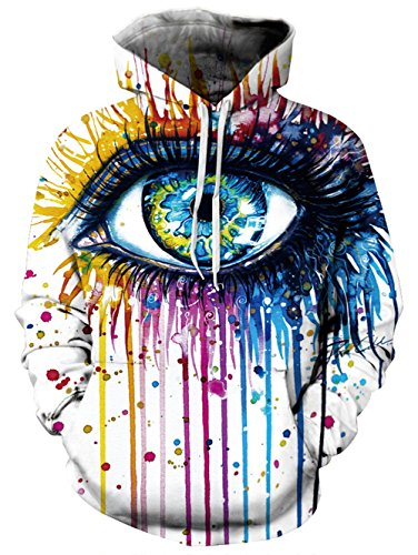 RAISEVERN Unisex 3d colorful Eye Design Print Hipster Novelty Drawstring Pocket Pullover Hoodie Sweatshirt For Women 2017 Style Paint Eye Large / X-Large