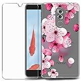 MadBee Funda para Huawei Honor 6X [con Protector Pantalla],Transparente Carcasa Silicona Ultra Fina Suave TPU Gel Bumper Case Protección con Dibujos Shell Cover (Flor 3)