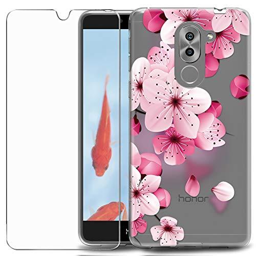 MadBee Cover Compatibile Huawei Honor 6X [con Pellicola in Vetro Temperato],Motivo in Creativo Disegni Trasparente Morbida Silicone Ultra Sottile TPU Custodia Protettiva (Fiore 3)