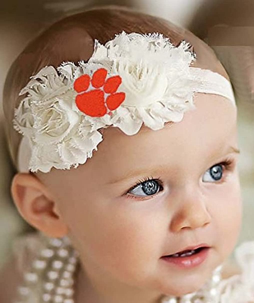 Future Tailgater Clemson Tigers Baby/Toddler Shabby Flower Hair Bow Headband