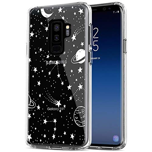 RANZ Galaxy S9 Plus Case, Anti-Scratch Shockproof Series Clear Hard PC+ TPU Bumper Protective Cover Case for Samsung Galaxy S9+ (6.2 inch) - Universe