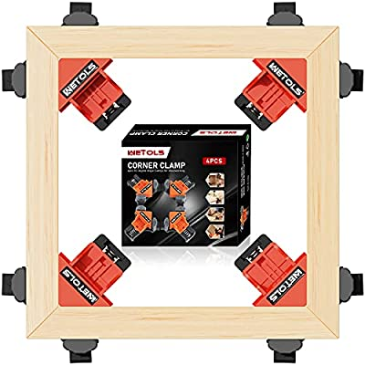 WETOLS Corner Clamps for Woodworking, 4pcs Fast Adjustable Quick Spring Loaded Woodworking Clamps, Tool Gift for Men Father Dad Carpenter, Welding, Drilling, Cabinets, Photo Framing