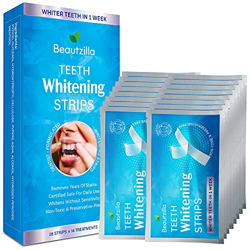 Beautzilla Teeth Whitening Strips - Safe Formula for Sensitive Teeth Teeth Whitening Kit, 30-Minute Express Whitening Strips, Professional Teeth Whitener