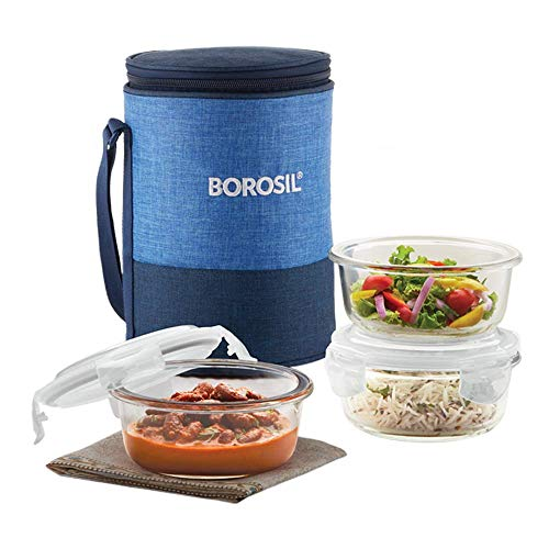 Borosil - Prime Glass Lunch Box 400 ml, Round, Microwave Safe Office Tiffin (Transparent) - Set of 3,