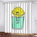 XKSJWY Cortinas Habitacion Dormitorio 3D Vaso De Bebida De Personaje De Dibujos Animados Patrón Cortinas Opacas Termicas...