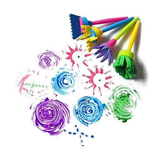 Aprice 4pcs/Set Rotate Spin Paint Drawing Sponge Brushes Kids DIY Art Brushes Painting Tool