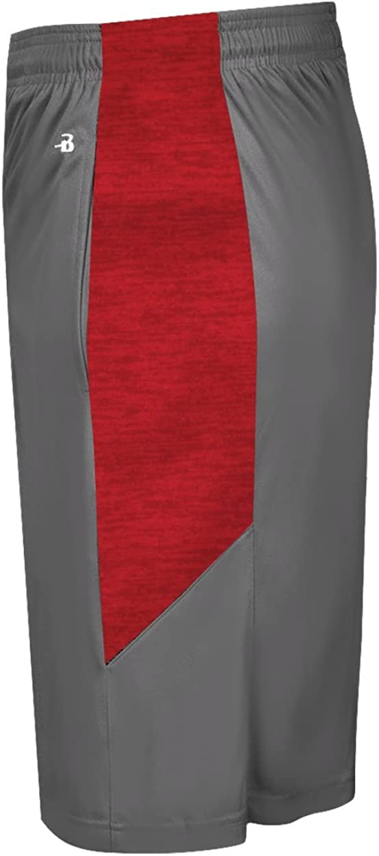 Badger Sport Graphite Shorts with Red Sublimated Youth XL 7