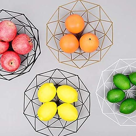 CAOLATOR Moderno frutero de metal negro decorativo frutero de metal para almacenamiento de frutas-blanco