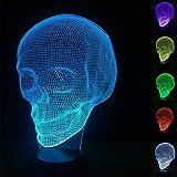 Ilusión óptica 3D Lámpara de calavera Luz nocturna Modelo de muerte Idea de regalo de cumpleaños Regalo de fútbol Habitación de niños Luz nocturna con control remoto 16 Cambio de color