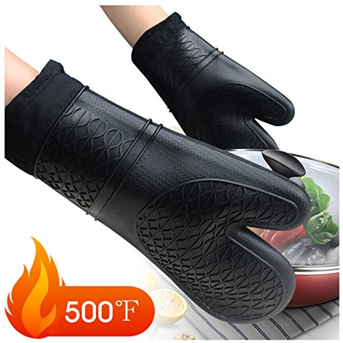 Rifny Silicone Oven Mitts Soft NonSlip Oven Gloves Heat Resistant 500 Degree for Kitchen Cooking Grilling Microwave Protect Hands from Hot Surfaces 1 Pair