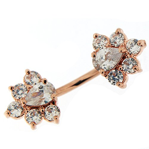Rose Gold Plated Over Clear Crystal Stone Twin Flowers 925 Sterling Silver with Stainless Steel Double Side Navel Button Ring