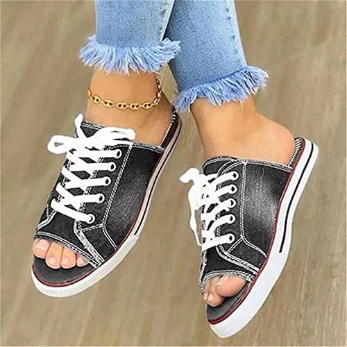 YYFF Zapatillas Flip Flops Sandal,Boca de pez Arrastre de Arena Plana, Zapatillas de Lona de Gran tamaño-Gris_41,Hombre Chanclas Suela