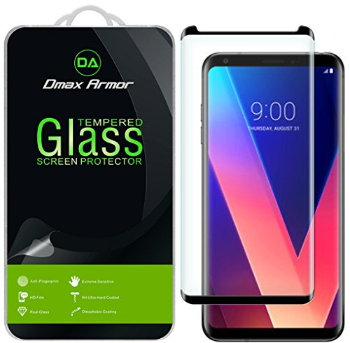 (2 Pack) Dmax Armor for LG V35 ThinQ (Tempered Glass) Screen Protector, (Full Screen Coverage) (Black)