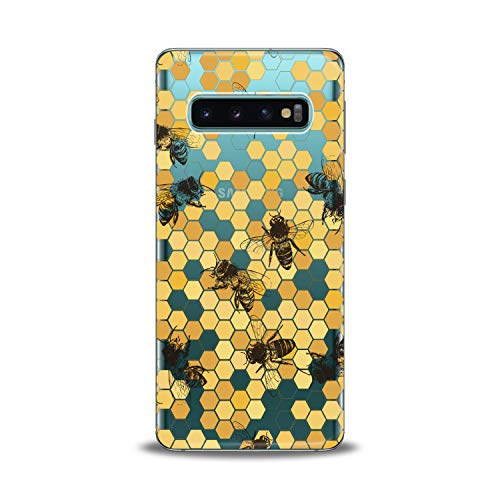 Lex Altern TPU Case for Samsung Galaxy s10 5G Plus 10e Note 9 s9 s8 s7 Realistic Bees Clear Cover Honeycombs Slim fit Lightweight Yellow Print Soft Design Colorful Gift Flexible Woman Smooth Elegant