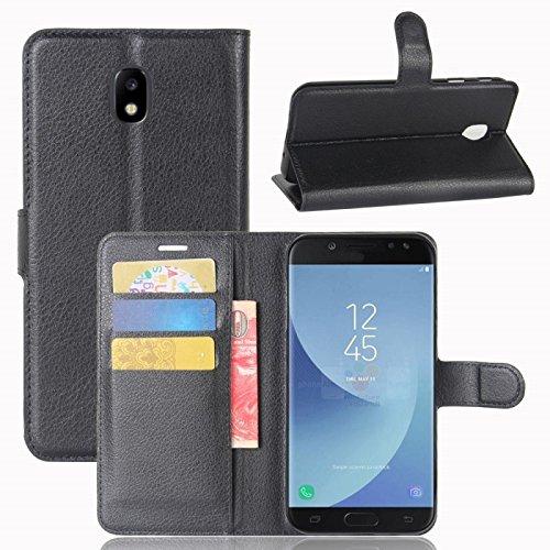 COPHONE® Etui Coque Housse de Protection Noir en Cuir pour Samsung Galaxy J5 2017 J5 Pro J530 Etui porteufeuille Noir Haute qualité pour Samsung J5 2017 J5 Pro J530