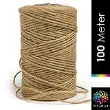OfficeTree Cuerda Manualidades 100 m - Cuerda de Yute 1 Rollo - Producto Natural de Alta calidad...