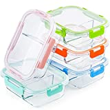 Glass Meal Prep Containers 2 Compartment Set, 5-Pack, 34oz, Glass Bento Boxes for Adults, Divided...