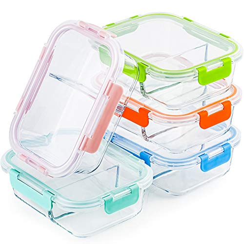 Glass Meal Prep Containers 2 Compartment Set
