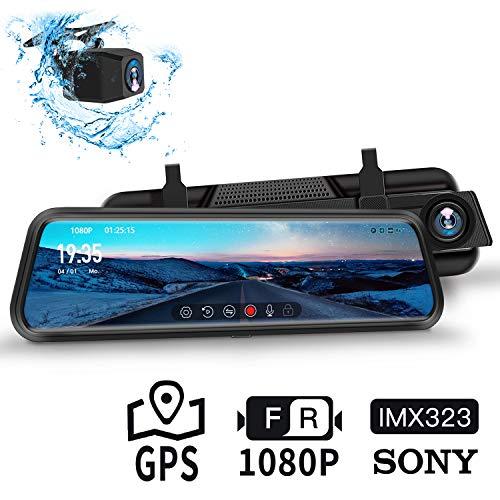 """DuDuBell Autokamera 10\""""-IPS-Touchscreen-Rückspiegelkamera, Dual 1080P Dashcam 310 ° Weitwinkel mit Nachtsicht bei Sternenlicht HDR Plus, GPS inklusive, IP68 wasserdichte Rückfahrkamera"""