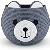 W Design Round Bear Toy Basket - Rope basket– Cute baby Laundry Basket Organizer with handles for Toys, Blankets, Towels, Laundry, Baby Shower - 19' W X 13' H , XL Gift Baskets Empty -Handmade