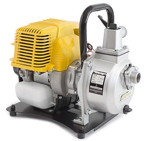 ✦ WASPPER PC107 ✦ Pompe à eau robuste et portative avec un débit de 7500 l/h ✦ Hauteur de refoulement de 35 m ✦ moteur à essence de 9000 tr/min et accessoires inclus