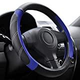 Elantrip Steering Wheel Cover Leather 14 1/2 to 15 inch Universal Padded Soft Grip Breathable for Car Truck SUV Jeep Anti Slip Blue and Black