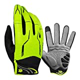 Cool Change Full Finger Bike Gloves Unisex Outdoor Touch Screen Cycling Gloves Road Mountain Bike Bicycle Gloves (Green, L)