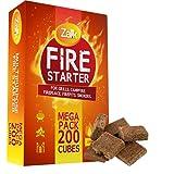 200 Pack Fire Starter, MEGA Pack Fire Starters for Campfires, Fireplace, Firepits, Charcoal Starter, Firestarter for Grill, BBQ & Wood Stove, All Natural & Waterproof, Safe for Indoor/Outdoor Use