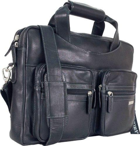 UNICORN Vera Pelle Fino 16,4 pollici Borsa del computer portatile Netbook Ultrabook Borsa Nero Messenger Bag #7N