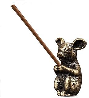 DMtse Brass Mini Antique Piggy Statue Incense Holder Burner Ornaments Meditation Serene Statue Figurine Collectible