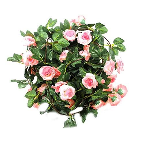 NIDONE 2pcs Artificial Guirnaldas De Rose, Rose De Seda Florece Hojas Verdes De La Vid para La Fiesta De La Boda Home Hotel Jardín Oficina Artesanía, Arte, Decoración (Rosa)