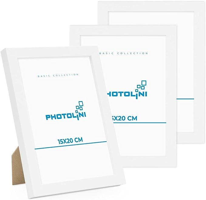 5461 opinioni per Photolini Set di 3 cornici per Foto da 15x20 cm Modern Bianco in MDF con Vetro