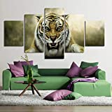 KGKBH 5 Pinturas consecutivas HD Wall Art Canvas Poster Kids Room Caligrafía 5 Set Animal Tiger Fashion Style Decoración del Hogar Modular Picture Prints Pintura