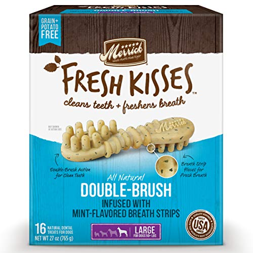 Merrick Fresh Kisses Double-Brush Dental Dog Treats With Mint Breath Strips For Large Dogs - 27 oz Bag with 16 Brushes
