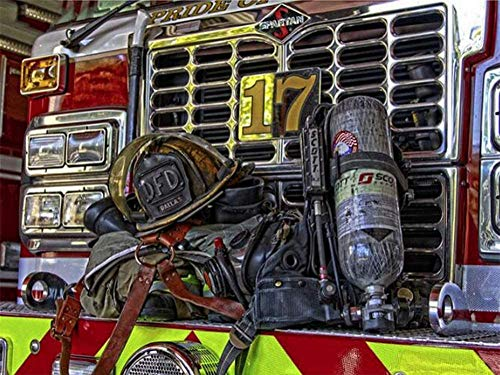 Gempajk 5D Diamond Painting Kits for Adults and Kids Firefighter Equipment Full Drill Diamond Art Kits and Crafts Diamond Painting by Number Kits for Home Wall Decoration AB0237-Ruond Drill_60x80cm