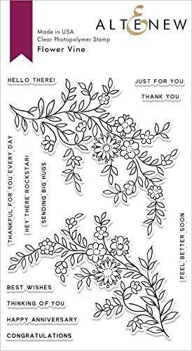 Altenew Flower Vine Stamp Set, 13 Stamps (4' x 6') Includes Heartfelt Sentiments for Paper Crafting Card Making Scrapbooking, Anniversary, Get Well Soon, Congratulations Cards