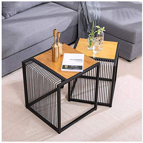 Charisma Nest of Tables Wood Nesting End Tables Set of 2 Side End Table for Living Room Small Spaces Black Small Coffee Table,Natural