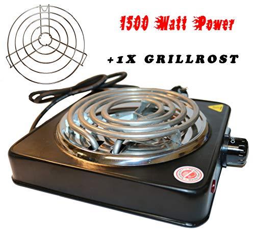 Elektrische kolenaansteker voor shisha - kolen met 1500 W vermogen, 5 standen instelbaar, oververhittingsbeveiliging, roestvrijstalen verwarmingsspiraal, beschermingsrooster, grillaansteker zwart