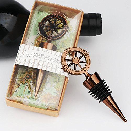 Aytai 5Pack Nautical Compass Wine Bottle Stoppers Wedding Favors for Guests Travel Theme Wedding Party Gift Souvenirs Bachelor Decoration