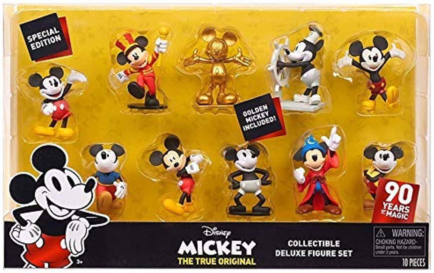 Special Edition 90 Years of Magic  DISNEY MICKEY THE TRUE ORIGINAL Collectible DELUXE Figure Set 10Pack  golden Mickey Included