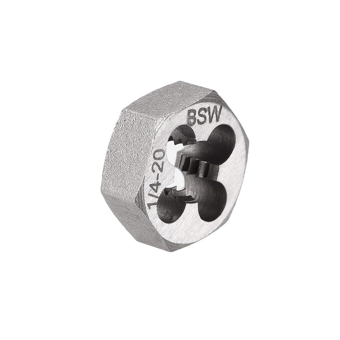 致命的ライトニング見かけ上uxcell 六角ねじ切りダイス ライトハンド 調整可能 BSW 1/4-20 ピッチ HSS (高速度鋼)